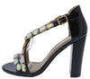 Newyork2 Black Jeweled Cross Strap Open Toe Block Heel - Wholesale Fashion Shoes