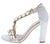 Newyork2 Silver Jeweled Cross Strap Open Toe Block Heel