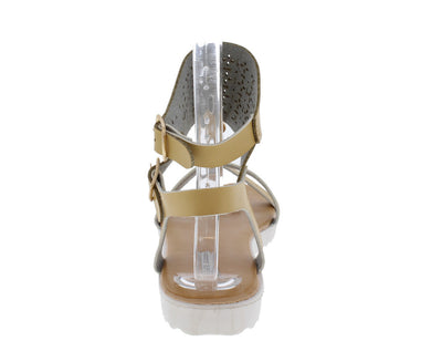 Nezo1 Nude Cut Out Caged White Sole Sandal - Wholesale Fashion Shoes