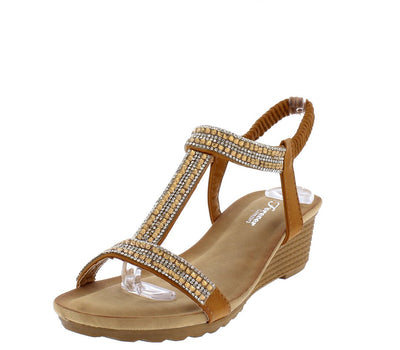 Nibble5 Tan Sparkle Open Toe T Strap Slingback Wedge - Wholesale Fashion Shoes