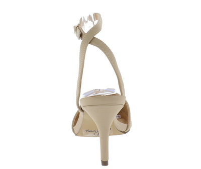 Nico2 Nude Nubuck Pointed Toe Cross Back Short Heel - Wholesale Fashion Shoes