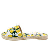 Nicole Multi Lemon Open Toe Espadrille Flat Slide Sandal - Wholesale Fashion Shoes