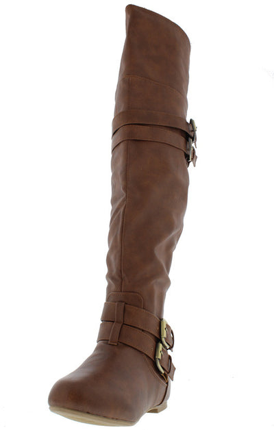 Night79 Tan Multi Strap Brass Detailing Boot - Wholesale Fashion Shoes