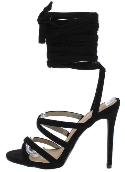 Esther166 Black Cross Strappy Open Toe Ankle Wrap Heel - Wholesale Fashion Shoes