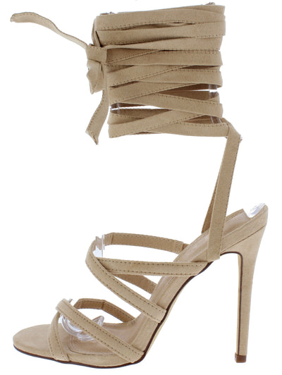 Esther166 Nude Cross Strappy Open Toe Ankle Wrap Heel - Wholesale Fashion Shoes
