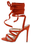 Esther166 Orange Cross Strappy Open Toe Ankle Wrap Heel - Wholesale Fashion Shoes