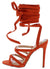 Esther166 Orange Cross Strappy Open Toe Ankle Wrap Heel
