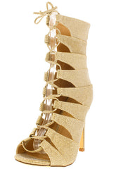 HANA2 GOLD OPEN TOE MULTI OVERLAY STRAP LACE UP ANKLE BOOT - Wholesale Fashion Shoes
