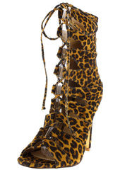 HANA2 LEOPARD OPEN TOE MULTI OVERLAY STRAP LACE UP ANKLE BOOT - Wholesale Fashion Shoes