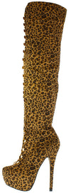 Nikky Leopard Multi Elastic Loop Platform Heel Boot - Wholesale Fashion Shoes