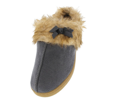 Ninajj1 Grey Faux Fur Slipper Flat - Wholesale Fashion Shoes