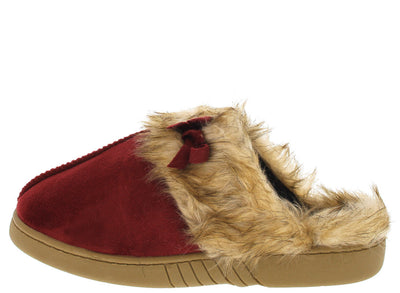 Ninajj1 Red Faux Fur Slipper Flat - Wholesale Fashion Shoes