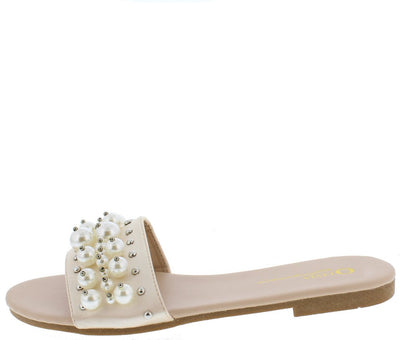 Nixon Nude Pearl Stud Embellished Mule Slide Sandal - Wholesale Fashion Shoes
