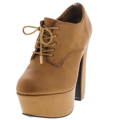 Noble Distressed Tan Lace Up Platform Boot - Wholesale Fashion Shoes