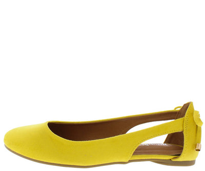 Noelle01 Mustard Round Toe Side Cut Out Rear Bow Ballet Flat - Wholesale Fashion Shoes