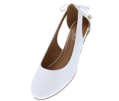 Noelle01 White Round Toe Side Cut Out Rear Bow Ballet Flat - Wholesale Fashion Shoes