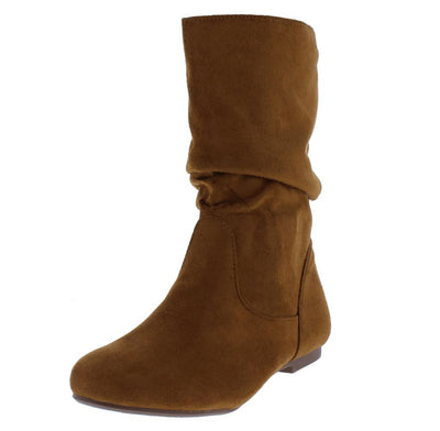 Nola6 Cognac Almond Toe Pull On Slouch Boot - Wholesale Fashion Shoes