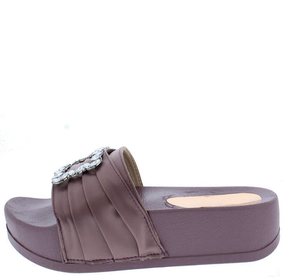 Mackenzie177 Mauve Pin Tuck Satin Jewel Buckle Mule Sandal - Wholesale Fashion Shoes