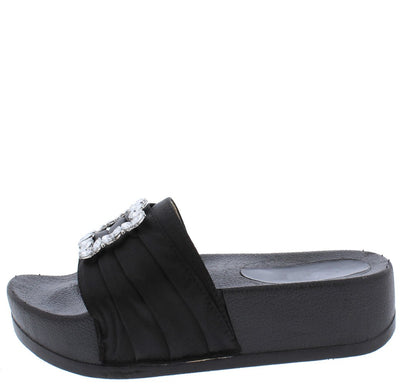 Mackenzie177 Black Pin Tuck Satin Jewel Buckle Mule Sandal - Wholesale Fashion Shoes