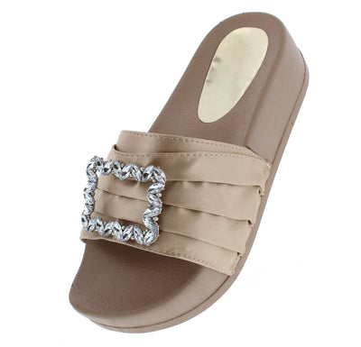 Mackenzie177 Nude Pin Tuck Satin Jewel Buckle Mule Sandal - Wholesale Fashion Shoes