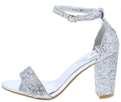 Nora06 Silver Glitter Open Toe Ankle Strap Chunky Heel - Wholesale Fashion Shoes