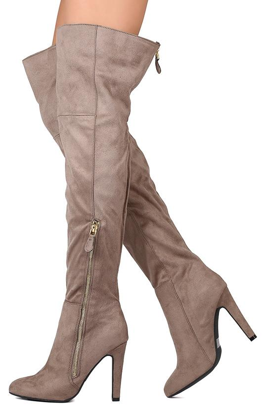 8bad4c3d3d10 Norah01x Taupe Suede Thigh High Almond Toe Heel Boot