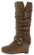 Norita68 Taupe Buckle Wedge Knee High Boot