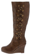 Norita79 Tan Side Ring Lace Up Wedge Boot - Wholesale Fashion Shoes
