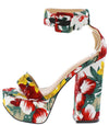 Arianna258 Floral Open Toe Ankle Strap Platform Heel - Wholesale Fashion Shoes