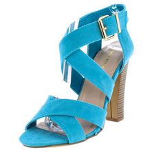 NOTCH AQUA SUEDE WOMEN'S WOOD HEEL - Wholesale Fashion Shoes