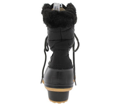 Nova01 Black Pu Faux Fur Trim Ankle Snow Boot - Wholesale Fashion Shoes