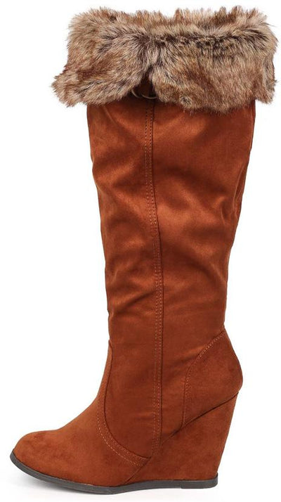 Noya01 Rust Faux Fur Fold Over Wedge Boot - Wholesale Fashion Shoes