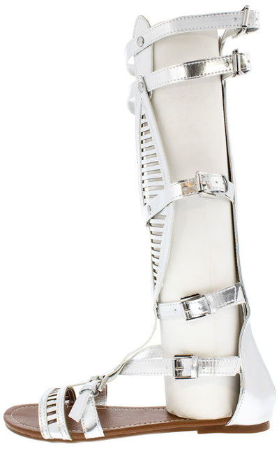 Odelia24 Silver Knee High Gladiator Boot - Wholesale Fashion Shoes