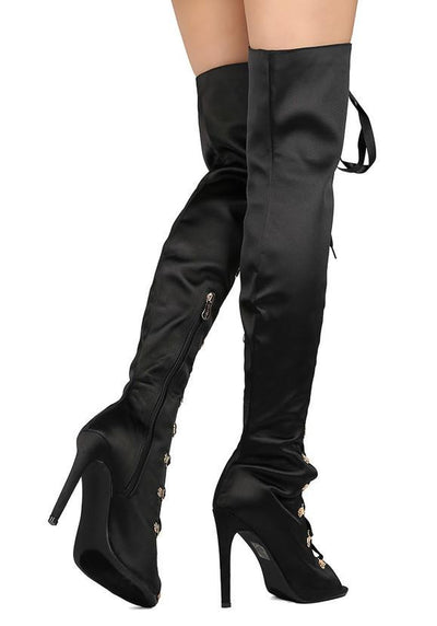 Olga26 Black Satin Lace Up Thigh High Stiletto Boot - Wholesale Fashion Shoes
