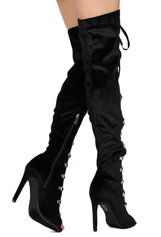 7f9d331a416 Olga27 Black Peep Toe Lace Up Thigh High Stiletto Boot