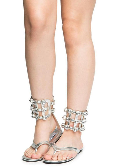 Omh12 Silver Caged Rhinestone Ankle Cuff Thong Sandal - Wholesale Fashion Shoes
