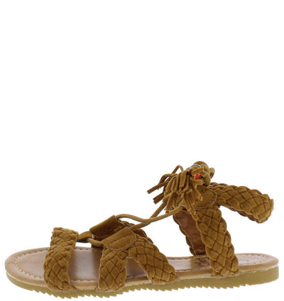 Omh8222ks Cognac Braided Strap Lace Up Bead Tassel Kids Sandal - Wholesale Fashion Shoes