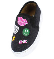 OMH8389KS BLACK KIDS FLAT - Wholesale Fashion Shoes
