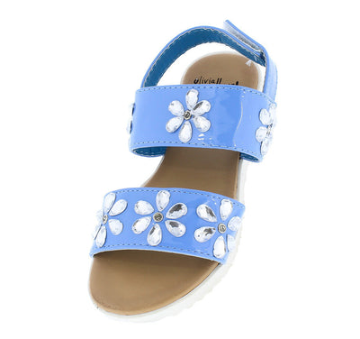 Oms1017ks Blue Rhinestone Flower Sling Back Kids Sandal - Wholesale Fashion Shoes