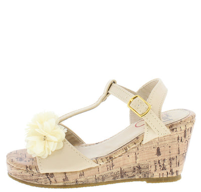 Oms1023ks Nude Rhinestone Flower T-strap Cork Kids Wedge - Wholesale Fashion Shoes