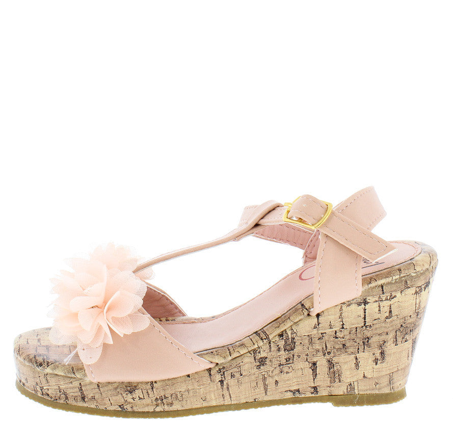 aaa35e84d57 Oms1023ks Pink Kids Rhinestone Flower T-strap Cork Wedges Only  10.88 - Wholesale  Fashion Shoes