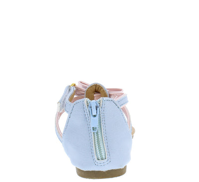 Oms1069ks Blue Pastel Bow Velcro Kids Sandal - Wholesale Fashion Shoes