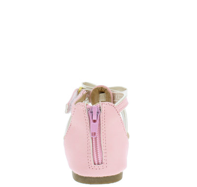 Oms1069ks Pink Pastel Bow Velcro Kids Sandal - Wholesale Fashion Shoes