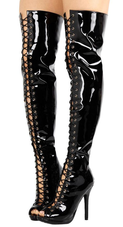 Alice035 Black Patent Lace Up Thigh High Boot - Wholesale Fashion Shoes