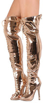 Alice035 Rose Gold Patent Lace Up Thigh High Boot - Wholesale Fashion Shoes