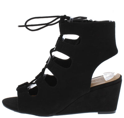 Oakland01s Black Peep Toe Ghillie Lace Up Cut Out Wedge - Wholesale Fashion Shoes