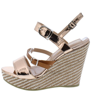 a8711763f Ode1 Rose Gold Open Toe Slingback Woven Platform Wedge - Wholesale Fashion  Shoes