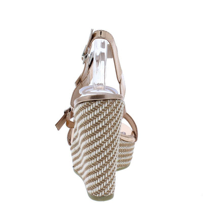 Ode1 Rose Gold Open Toe Slingback Woven Platform Wedge - Wholesale Fashion Shoes