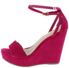 Ode9 Fuchsia Open Toe Side Cut Ankle Strap Platform Wedge - Wholesale Fashion Shoes