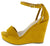 Ode9 Mustard Open Toe Side Cut Ankle Strap Platform Wedge
